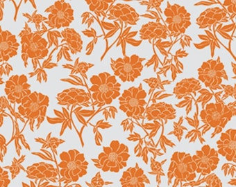 Valori Wells Fabric, Novella, Peony in Tangerine, Floral, Cotton Quilting - FAT QUARTER