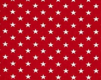 Stars Red and White, cotton quilting fabric - 1 FAT QUARTER