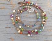 "Carmelita crocheted necklace 20"" long in dark antique brown for Belinda"