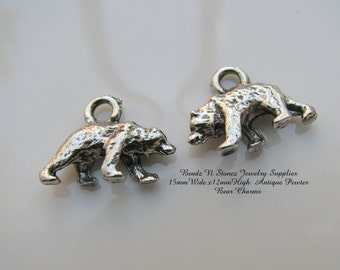 Bear Charms, 15x12mm, Antique Pewter - 2 PCS