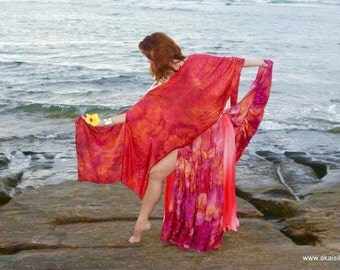 Silk sarong hand painted beach pareo wrap see size your choice of colors MADE to ORDER custom crepe de chine
