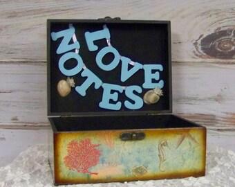Wedding Advice Box, Beach Wedding, Nautical Card Box, Beach Card Box, Decorative Card Box