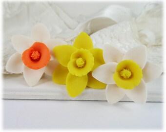 Daffodil Hair Pins - Daffodl Hair Accessories, Daffodil Wedding Hair Flowers