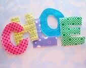 Sewn Fabric Applique Letters Embellishment CHLOE