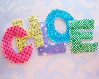 Sewn Fabric Applique Letters Embellishment CHLOE