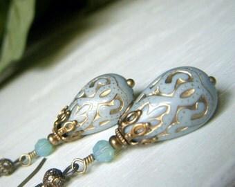 Blue Teardrop Earrings Brass, Pale Blue and Gold Lucite Teardrop Dangle Boho Bohemian,  Florentine Style, Lightweight Dangle Earrings