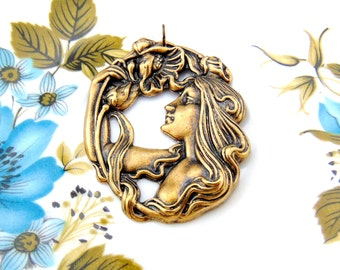 ANTIQUE BRASS Pendant Lady Nymph Flower Woman Stamping With Jump Ring- Jewelry Findings (C-301) #