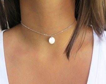 Initial Choker Necklace Layering Disc Necklace Personalized  Bridesmaids Gift Gold Silver or Rose Gold Finish