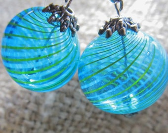 Handmade Blue And Green Striped Sphere Pierced Earrings, Handmade By Susan Every OOAK