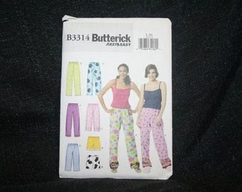 New Uncut Butterick B3314 Misses' Lounge PJ's Sewing Pattern, Sleepwear Pattern, Sizes large to x large, Pajamas, Nightwear,  SEWBUSY12