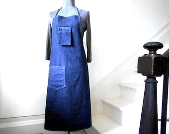 Vtg Selvedge denim utility apron, dark indigo one wash - work industrial studio apron