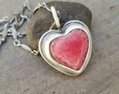 Rhodochrosite Heart Gemstone Pendant Necklace, heart charm necklace, layering necklace, OOAK, Sterling Silver Oxidized, Ready to Ship