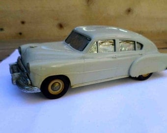 Vintage Fifties Thistle Grey Metal Car Bank with Original Owner's Deposit Slips / Mid Century Toy Banks Auto SALE