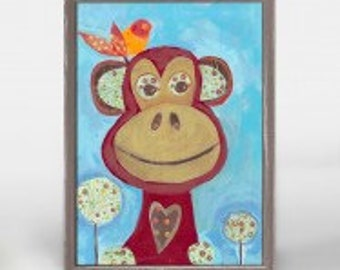 Z Monkey wooden framed 5 x 7