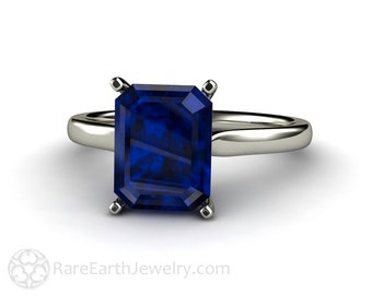 Blue Sapphire Engagement Ring Blue Sapphire Ring Emerald Solitaire 14K 18K Gold Platinum or Palladium Wedding Ring