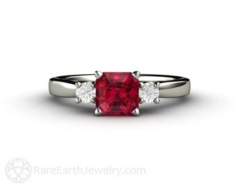 Ruby Engagement Ring 3 Stone Ruby Ring with Diamonds 14K or 18K Gold or Platinum Red Gemstone Ring July Birthstone