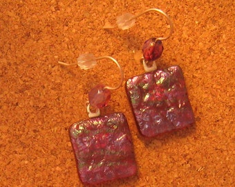 Dichroic Earrings - Fuchsia Earrings - Dichroic Jewelry - Fused Glass Earrings - Fused Glass Jewelry - Bead and Glass Earrings