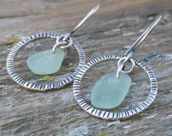 Sea Foam Green Sea Glass Hoop Earrings
