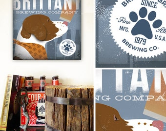 Brittany Spaniel dog beer brewing illustration artwork on gallery wrapped canvas by stephen fowler