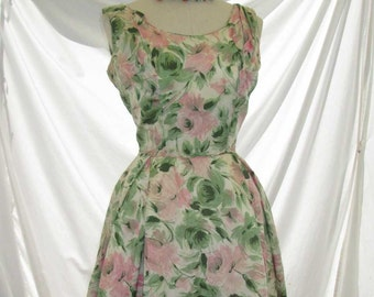 60s Pink Roses Dress Silk Floral Dress 60s vintage dress Silk Roses 60s vintage party dress Full skirt style M