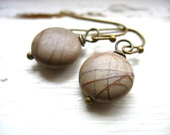 Jasper Earrings, Stone Earrings, Copper Mountain Jasper Stone Dangle Drop Earrings, Handmade Jasper Jewelry, luminous creation