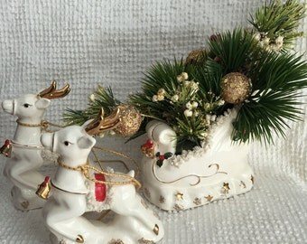 Vintage Napco White Porcelain Sleigh with Two Reindeer - Sleigh has lovely vintage arrangement - Centerpiece or Mantle Decor