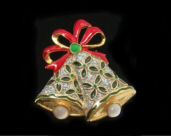 Christmas Bells Brooch, Vintage Costume Jewelry, Holiday Brooch, Red Enamel Bow, Green Rhinestones, Silver Sparkle on Goldtone