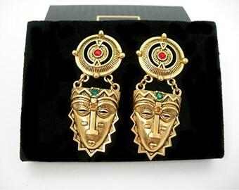 "Avon African Mask Pierced Earrings, Vintage 1994 NOS IOB Liz Taylor Design, Gold Mask with Rhinestones, 2-1/4"" Drop Dangle, Tribal Ethnic"