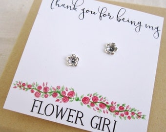 Flower Girl gift, Flower earrings ,Thank you for being my flower girl Earrings ,Silver post earrings Junior bridesmaid Dainty stud earrings