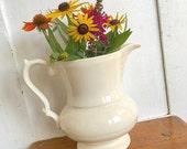 Farmhouse Style... Vintage White Ironstone Pitcher Barrington Made In England Farmhouse Decor