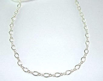 Figure Eight Chain, sterling silver necklace, figure 8 chain, lobster clasp