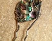 Hair Fork 2 Prong with Abalone Paua Shell Ln118, Boho, Oriental hair Assessory, Stick, Pick, Fork, Hairpin, Bobby pin,  SRA by Lynn