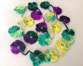 Flower Scarf, Handmade Crochet , Violet mix tones, Flower Lariat, Scarf, Necklace
