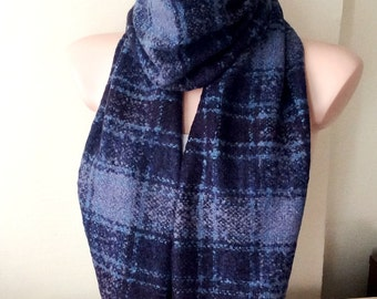 Unisex Scarf from Wool and viscone mix with plaid desing, Christmas Gift