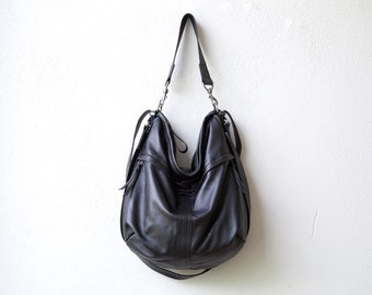 new design - lightweight extra soft leather - HOBO PACK in Italian lambskin - leather backpack - leather crossbody bag - zip pockets