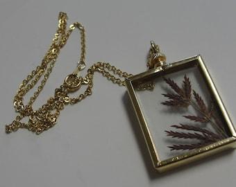 Botanical Glass Pendant 18 inch Gold Tone Necklace