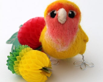 Needle Felted Yellow Lovebird Peach Faced Lovebird Ornament