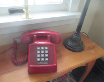 Vintage Red Push Button Telephone - 1980s Western Electric Phone