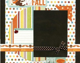 12x12 Premade Scrapbook Page - Happy Fall - Give Thanks