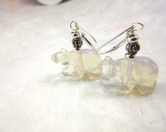 Polar bear earrings - moonstone animal jewelry - opalite shimmers - like the ice bears - gwynstone handmade