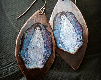 Gustav Klimt, Elisabeth Baroness Bachofen-Echt, Copper Earrings, Artisan Made, Art Nouveau, Modern, Beaded Earrings