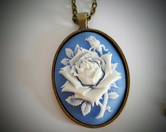 Cameo Rose Necklace in Wedgewood Blue