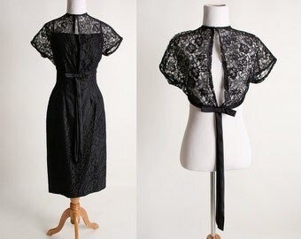 Vintage 1960s Black Lace 2 Piece Dress Set - Sheer Capelet and Bombshell Wiggle Dress - Small