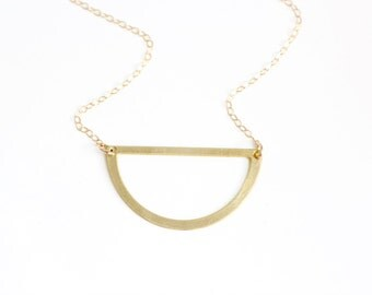 Minimalist Semicircle Cutout Necklace - Gold or Silver
