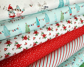 Christmas fabric bundle of 7 by Tasha Noel for Riley Blake, Cotton fabric by the Yard, Holiday fabric,  Christmas Quilt, Choose the cuts