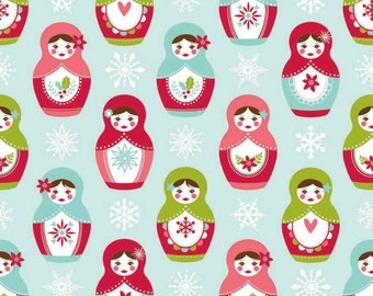 SALE Fabric, Christmas Fabric, Merry Matryoshka Cotton Fabric, Doll Fabric, by Riley Blake - Matryoshka in Blue, Choose the Cut