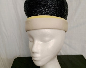 Vintage 1960s FABULOUS Mad Men Tall Bubble Toque Helmet Hat by Mr. John