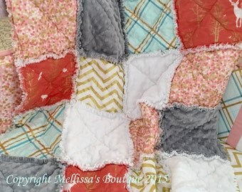 Designer Coral Blush Aqua & Gold Metallic Deer/Fawn Boutique Rustic Shabby Chic Baby Travel Rag Quilt Photo Prop Bedding MADE TO ORDER