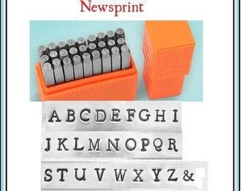 """NEW - Basic NEWSPRINT - UPPERcase Typewriter font by ImpressArt - 1/8"""" (3MM) size - includes tutorial for how to stamp metal"""