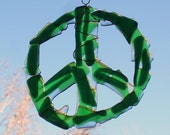 Green Fused Glass Peace Sign Suncatcher Wall Hanging